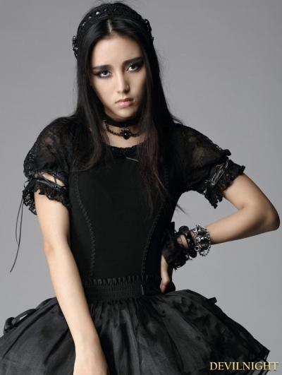 Black Gothic Punk Short Sleeves Shirt for Women