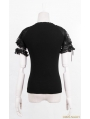 Black Gothic Punk Short Sleeves Shirt for Women