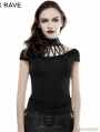 SALE!Black Gothic Punk Metal Bandage T-Shirt for Women