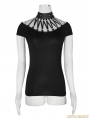 Black Gothic Punk Metal Bandage T-Shirt for Women