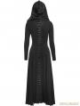 Black Gothic Long Knit Hooded Dress