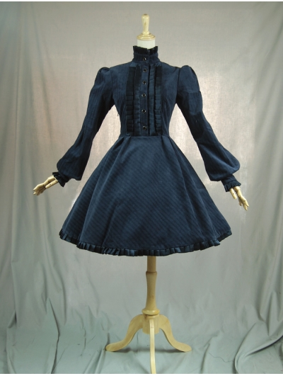 Navy Blue Long Sleeves Vintage Classic Lolita Dress