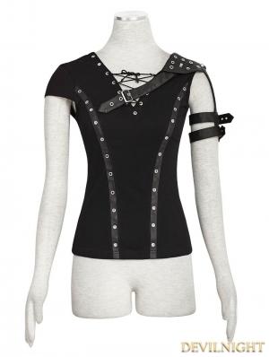 Black Armor Shoulder Gothic T-Shirt for Women