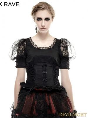 Black Gothic Lolita Pastoral Style T-Shirt for Women