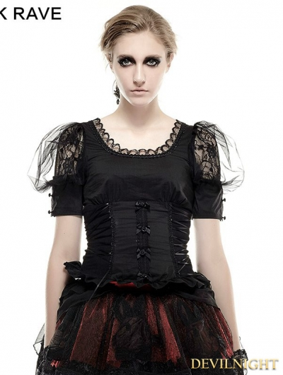 SALE!Black Gothic Lolita Pastoral Style T-Shirt for Women