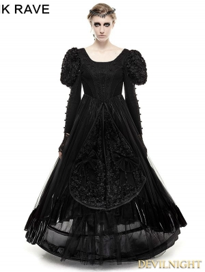 Black Big Swing Gothic Long Dress