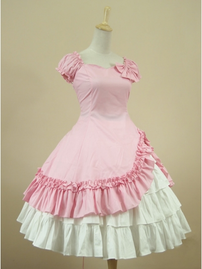 Pink Short Sleeves Classic Sweet Lolita Dress