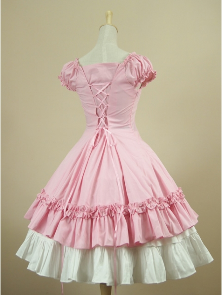 Pink Short Sleeves Classic Sweet Lolita Dress Devilnight