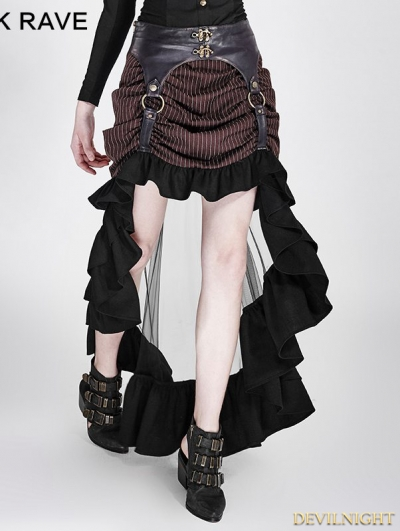 Brown Irregular Steampunk Skirt