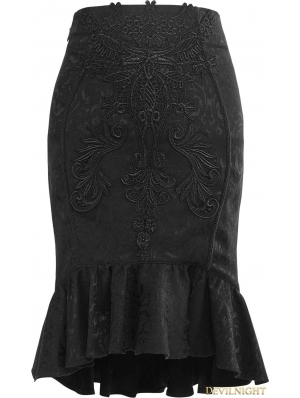 Black Gothic Vintage Palace Fishtail Skirt