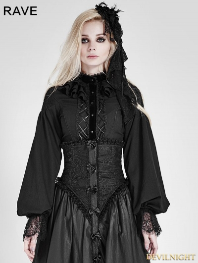 Black Gothic Palace Style Chiffon Blouse for Women