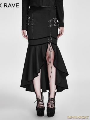 Black Gothic Military Uniform Half Skirt