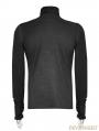 Black Gothic Heavy Punk High-Necked Printing T-Shirt for Men