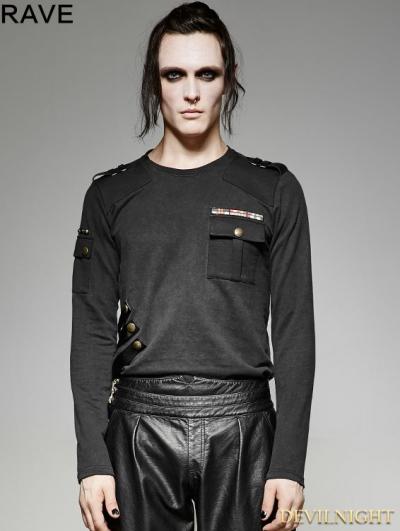 SALE!Black Gothic Military Uniform Style T-Shirt for Men