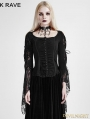 Black Gothic Band Lace T-shirt for Women
