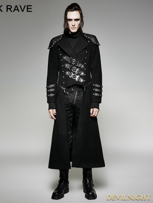 Black Gothic Military Uniform Woolen Long to Short Coat for Men