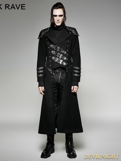 SALE!Black Gothic Military Uniform Woolen Long to Short Coat for Men