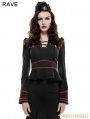 Black and Red Gothic Stand Collar Military Uniform Shirt for Women