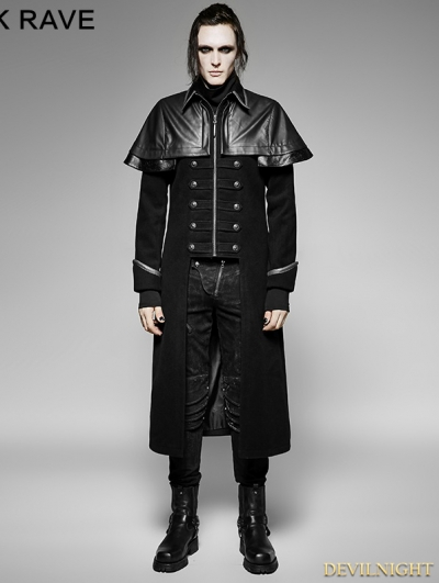 Black Gothic Military Uniform Long PU Leather Coat for Men