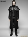 SALE!Black Gothic Military Uniform Long PU Leather Coat for Men