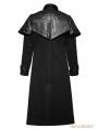 Black Gothic Military Uniform Long PU Leather Coat for Men