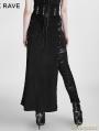 Black Gothic Punk Split Skirt for Women