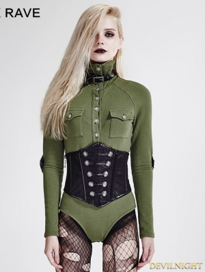 Green Gothic Siamese Military Uniform T-Shirt for Women