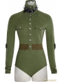 Green Gothic Siamese Military Uniform T-Shirt for Women