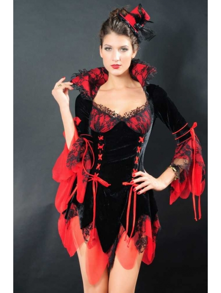 Sexy Black and Red Gothic Vampire Dress