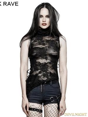Black Gothic Decadent Sleeveless T-Shirt for Women
