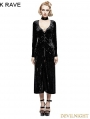 SALE!Black Gothic Retro-minimalist Band Imitation Gold Velvet Dress Coat