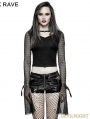 Black Gothic Punk Short T-Shirt for Women
