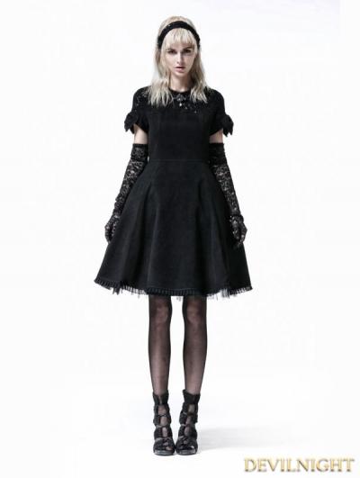 SALE!Black Gothic Lolita Short Sleeve Woolen Dress