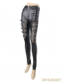 Black Gothic Buckle Belt Mesh Legging for Women