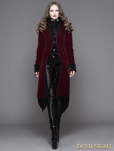 SALE!Wine Red Gothic Palace Style Long Coat for Women