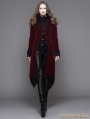 Wine Red Gothic Palace Style Long Coat for Women