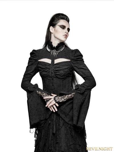 Black Sexy Gothic Double Sleeve Shirt for Women