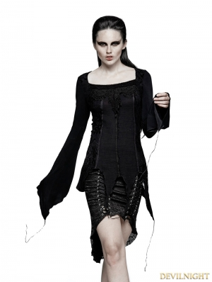 BlackGothic Asymmetric Hem Blouse for Women