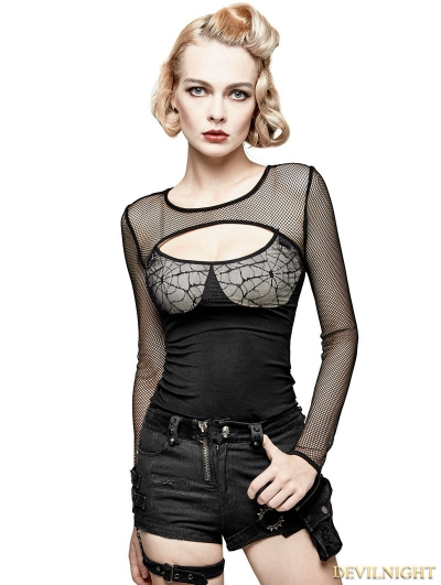 Black Gothic Punk Spider Web Sexy Long T-shirt for Women