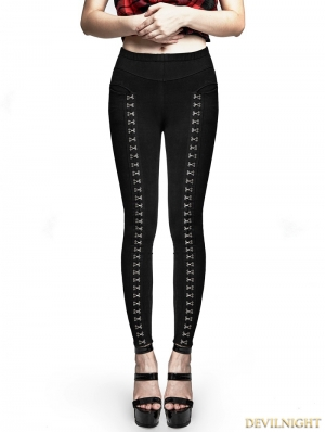 Black Gothic Punk Super Slim Split Metal Buckle Decoration Split Tights Leggings