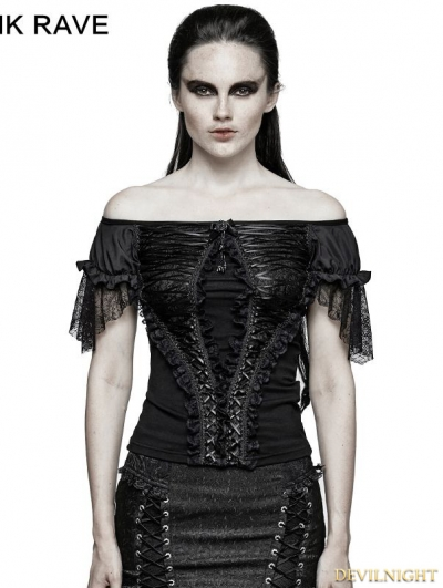 Black Gothic Lace Wide Boat Neck T-shirt For Women
