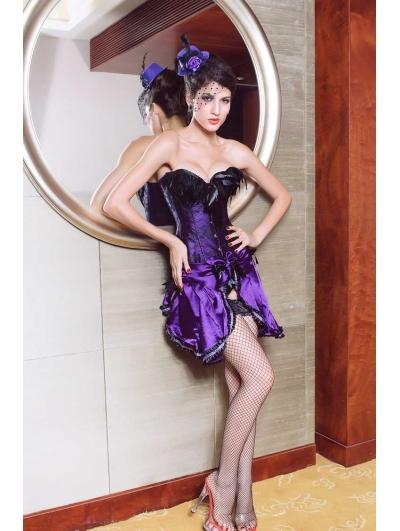 Purple Feather Burlesque Overbust Corset Dress