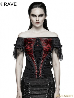 Black and Red Gothic Lace Wide Boat Neck T-shirt For Women