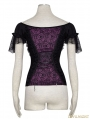 Black and Violet Gothic Lace Wide Boat Neck T-shirt For Women