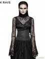 Black Gothic High Collar Spider Web Flare Sleeves T-shirt For Women