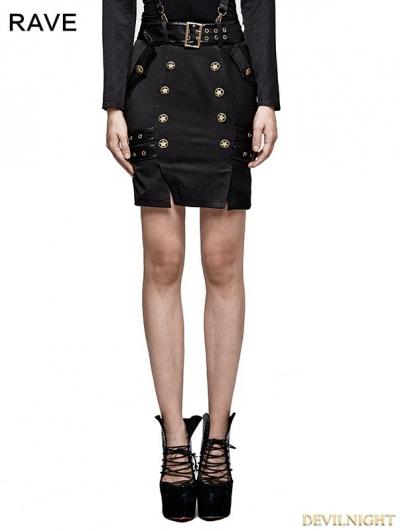 Black Gothic Military Uniform Belt Half Skirt For Women
