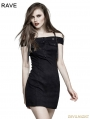 Black Gothic Punk Horizontal Neck Military Uniform Dress For Women