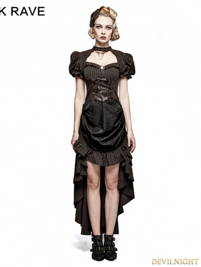 Brown Steampunk Burn-Out Gear Shape Dress For Women