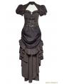 Brown Steampunk Burn-Out Gear Shape Dress For Women