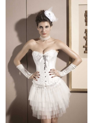 White Bridal Waist Training Overbust Corset